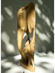 """Африканская статуэтка """"Три слона"""" из цельного куска дерева"""