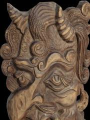 """Панно из дерева """"Бог Пан"""". Высота 45 см. Из коллекции журналиста международника, собранной в 60-80 годы 20 века."""
