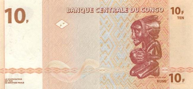 10 франков Конго с африканской скульптурой Luba