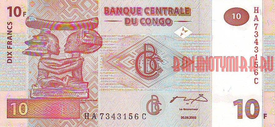 10 франков Конго с изображением статуэтки Luba