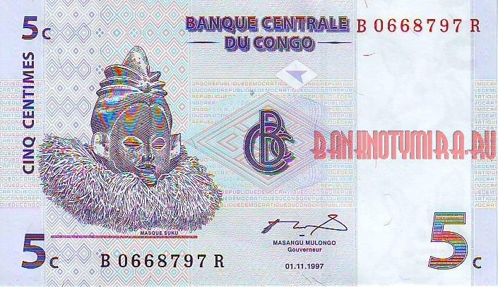 Купюра в 5 сантимов, которая сегодня в Конго ничего не стоит