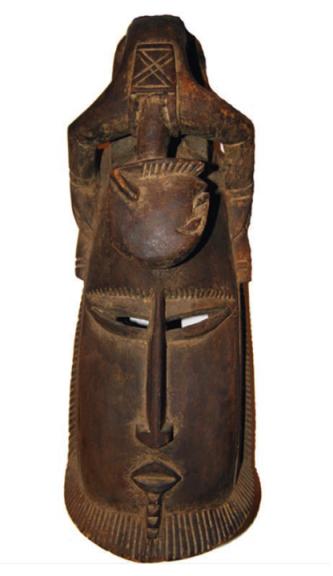 Лицевая маска. Народ: Марка. Страна: Мали. Кон. XX в. Дерево, медь.