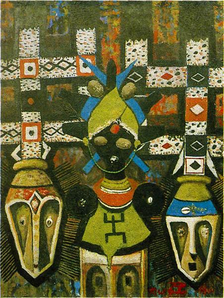 Панно с изображением традиционных африканских масок. Центр по изучению цивилизаций, Сенегал