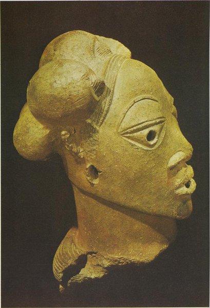 Мужская голова. Культура Нок. X в. до н.э. - III в. н.э. Терракота. Лагос, Национальный музей