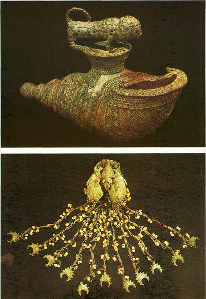8 Сосуд в виде морской раковину украшенный фигурой леопарда. Игбо-Укву:. IX в. Бронза. Лагос, Национальный музей  9. Украшение с ящерицей Игбо- Укау. IX в. Бронза. Лагос Национальный музей