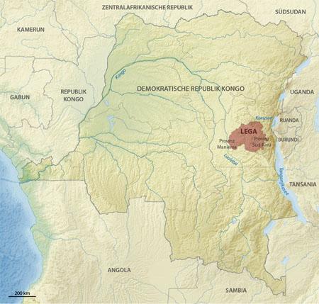 Территория проживания народности Lega