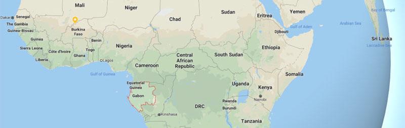Габон на карте Африки