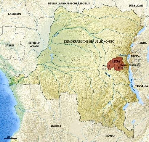 Ореол проживания народности Лега (Lega)