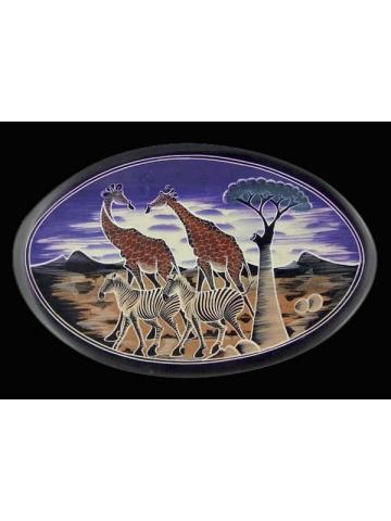 """Африканская декоративная тарелка на стену овальной формы в этническом стиле серия """"Жирафики"""""""