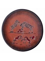 Декоративная ффриканская тарелка из натурального камня талькохлорит