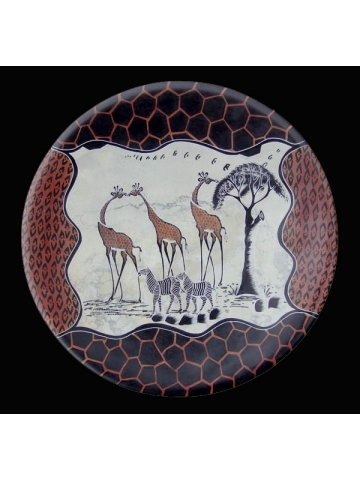 Африканское декоративное блюдо-тарелка из натурального камня диаметром 36 см