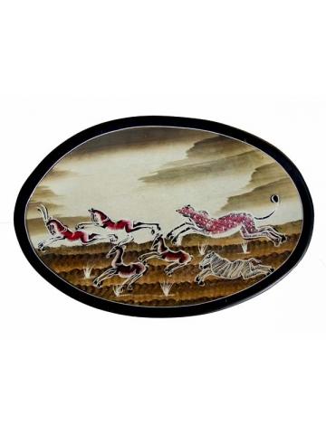 """Овальная декоративная тарелка из натурального камня талькомагнезит серия """"Колхозная паства"""""""