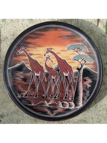 """Декоративная африканская тарелка из натурального камня """"Три жирафа"""" [36 см]"""