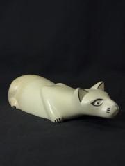 Фигурка лежащей кошки из натурального камня талькохлорит. Сделано в Кении 1683-2