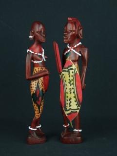 Фигурки масаев - мужчина и женщина [Кения], 21 см