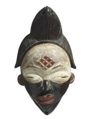 Эффектная и выразительная двухцветная африканская маска из Габона Punu
