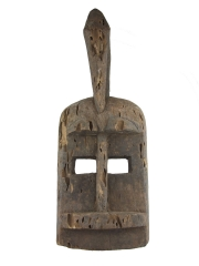 Маска народности Dogon с птицей на голове и изъеденной поверхностью термитами