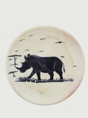 """Африканское декоративное блюдо """"Носорог"""" из натурального камня"""
