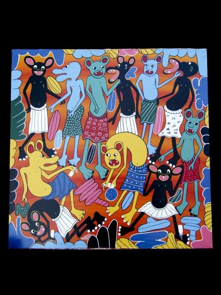 """Африканская картина """"Духи"""" в стиле Тингатинга (Танзания)"""