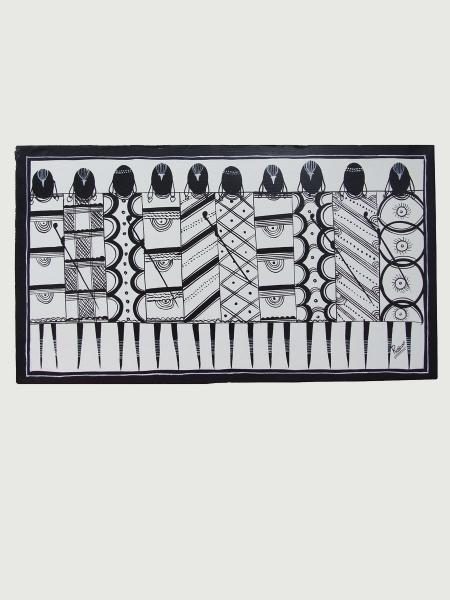 """Африканская картина """"Воины"""" в стиле Тингатинга (Танзания)"""