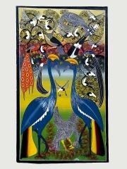 """Африканская картина """"Влюбленные"""" в стиле Тингатинга (Танзания)"""