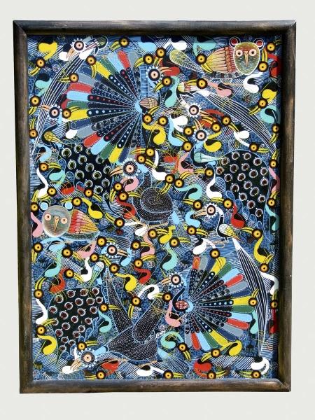 """Африканская картина """"Птицы"""" в стиле Тинга Тинга (Танзания)"""