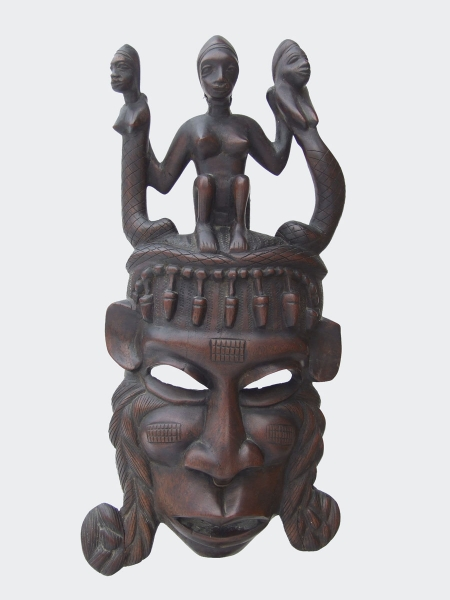 Настенная африканская маска из красного дерева «Лекарь» из Мали