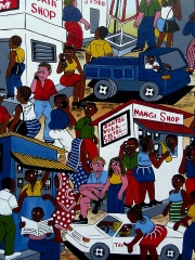 """Африканская картина """"Мобильный город"""" в стиле Тингатинга (Танзания)"""