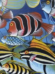 """Картина """"Рыбы"""" в стиле Тингатинга (Танзания)"""