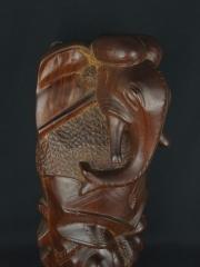 Настенная африканская маска «Сила слона» из красного дерева