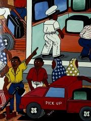 """Африканская картина """"TV Shop"""" в стиле Тингатинга (Танзания)"""