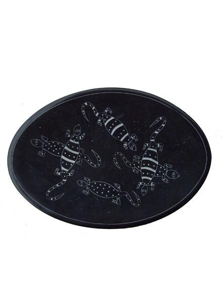 Африканское декоративное блюдо-тарелка из натурального камня диаметром 25 см