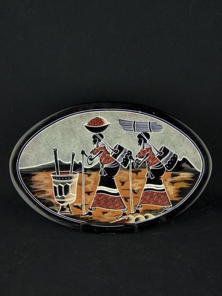 Африканское декоративное блюдо-тарелка из натурального камня диаметром 31 см