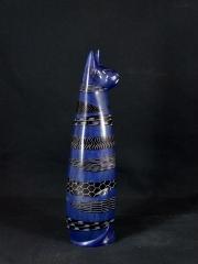 Фигурка сидящей кошки из натурального камня талькохлорит. Сделано в Кении