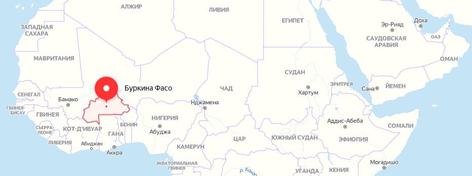 Буркина Фасо на карте Африки