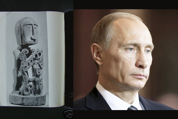 Африканская статуэтка с лицом, похожим на Путина