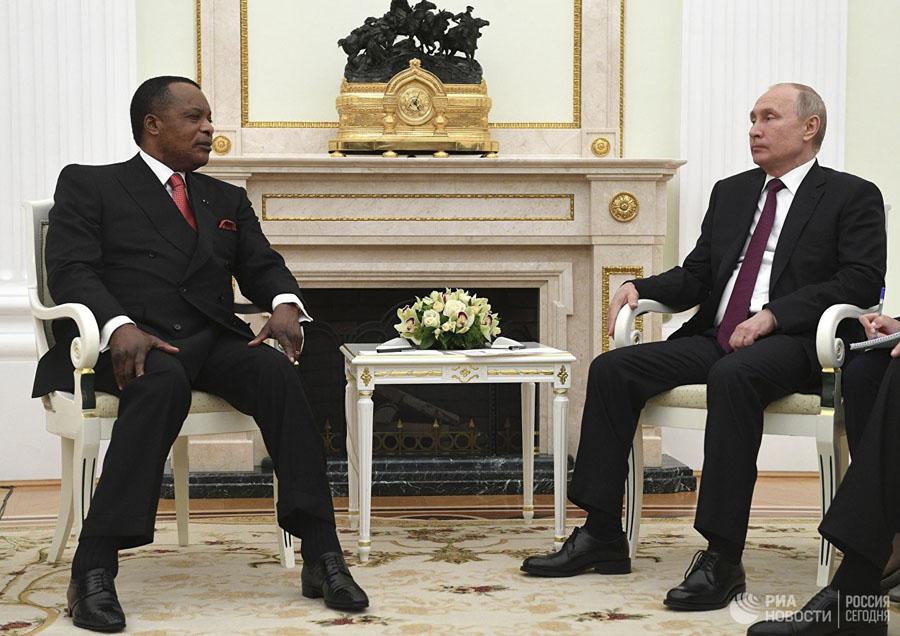 Дени Сассу-Нгессо и президент России Владимир Путин
